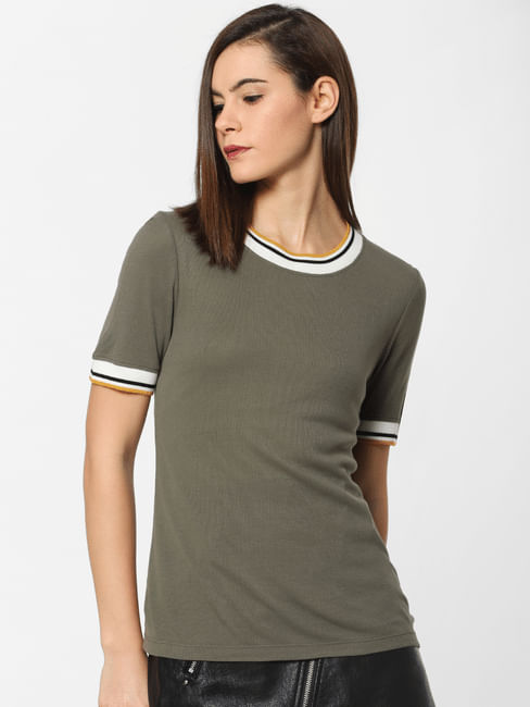 Dark Green Contrast Tipping Top