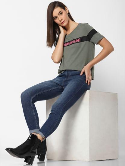 Dark Green Slogan Print T-Shirt