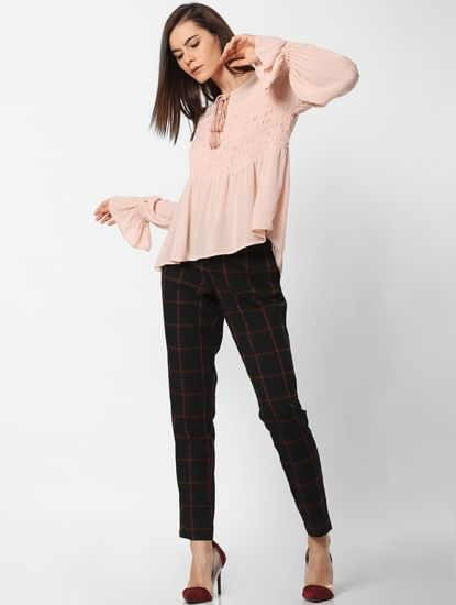Pink Smock Flared Top