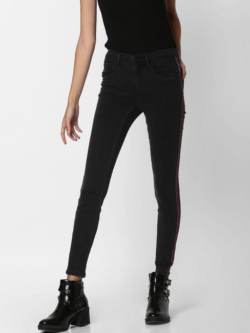 Black Mid Rise Tape Detail Skinny Jeans