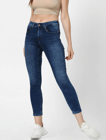 Blue Mid Rise Faded Skinny Jeans