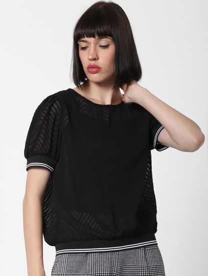 Black Burn Out Cropped Top