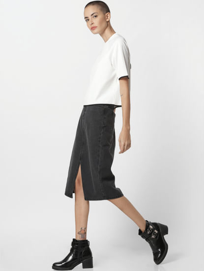 Black Mid Rise Denim Skirt