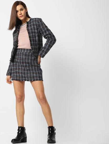 Blue Textured Mini Skirt