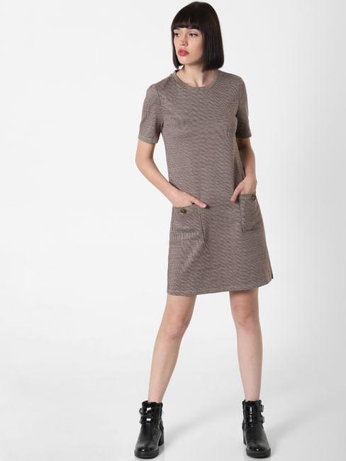 Brown Check Shift Dress