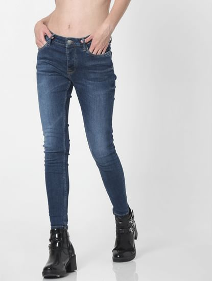 Blue Mid Rise Faded Skinny Fit Jeans