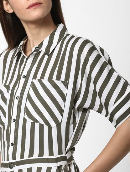 White Striped Belted Jumpsuit