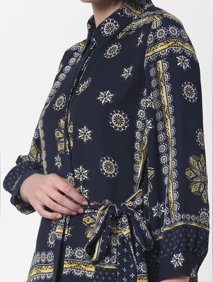 Navy Blue Printed Shirt Dress
