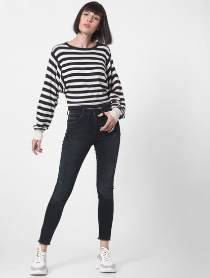 Blue Striped Cropped Pullover