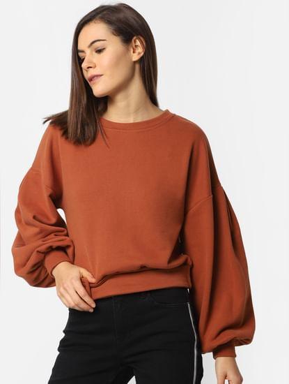 Brown Belted Sweatshirt