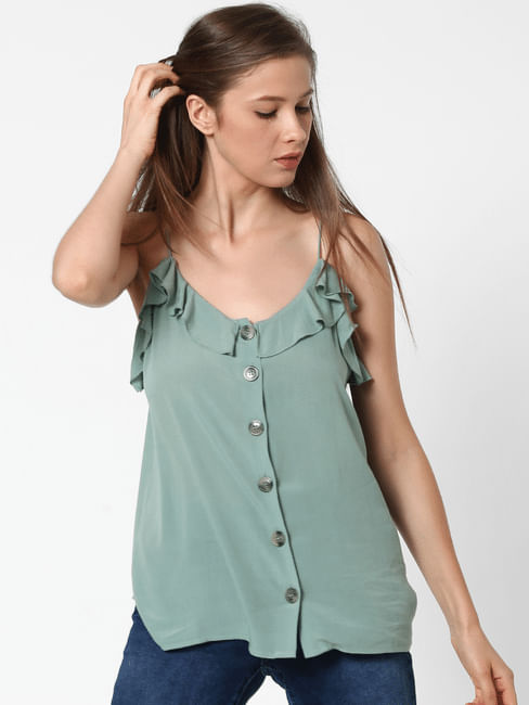 Green Ruffle Spaghetti Top