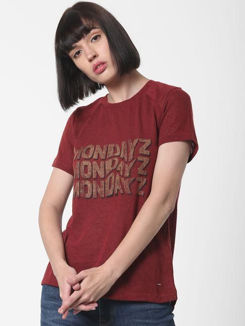 Dark Red Mondayz Print T-Shirt