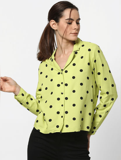 Neon Green Polka Dot Shirt