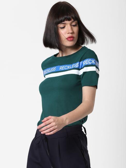 Green Colourblocked T-Shirt