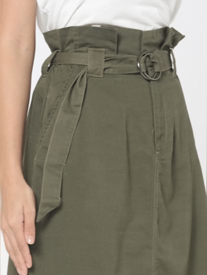 Green High Rise Paperbag Waist Skirt