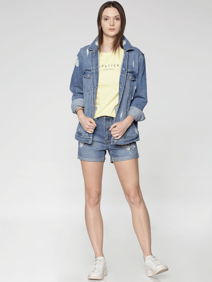 Blue Mid Rise Embroidered Denim Shorts