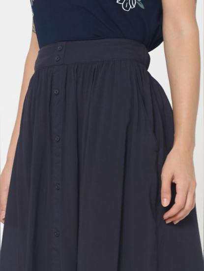 Navy Blue Mid Rise Flared Skirt