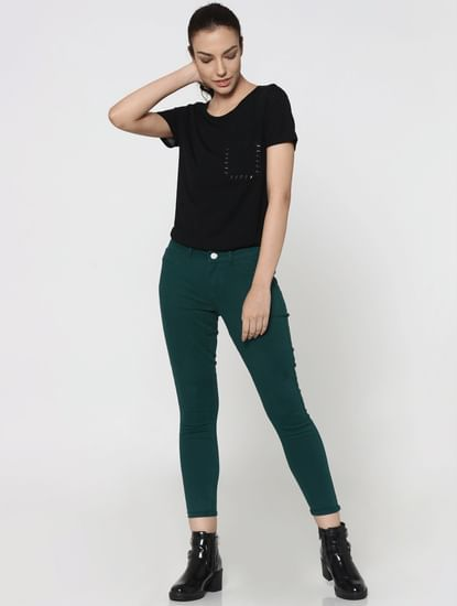 Green Mid Rise Skinny Fit Pants