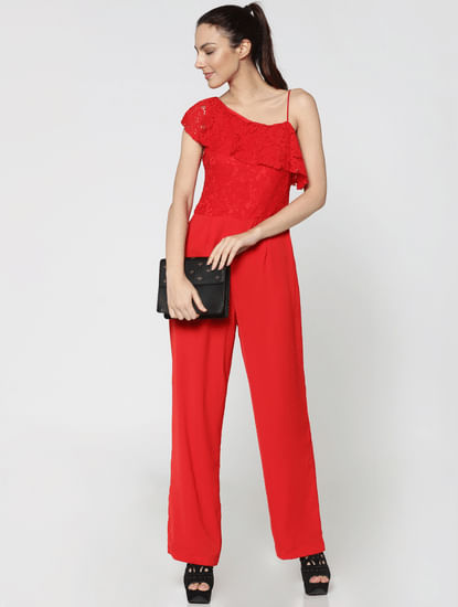 Red Lace One Shoulder Jumpsuit