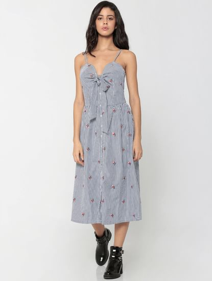Blue Striped Front Knot Midi Dress