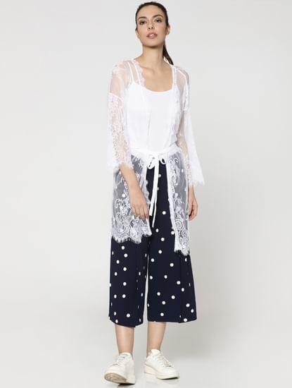 White Lace Front Open Kimono