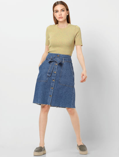 Blue High Rise Raw Edge Denim Skirt