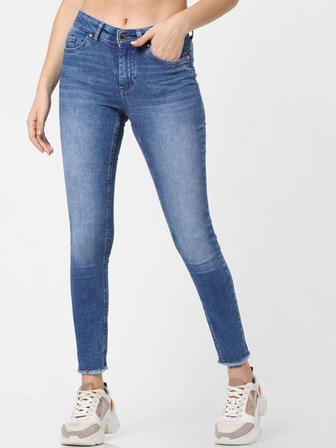 Blue Mid Rise Frayed Hem Skinny Fit Jeans