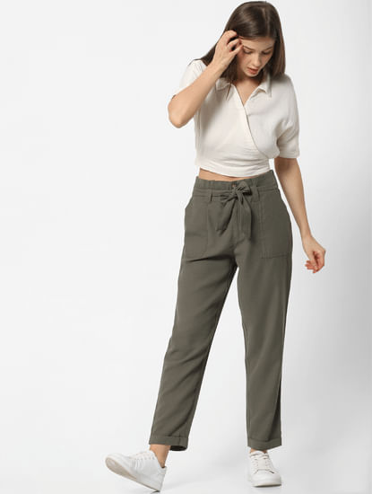 Green High Waist Belted Relaxed Fit Pants