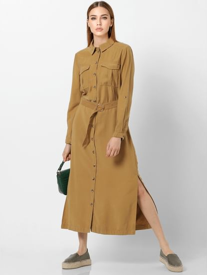 Brown Belted Long Shirt Dress