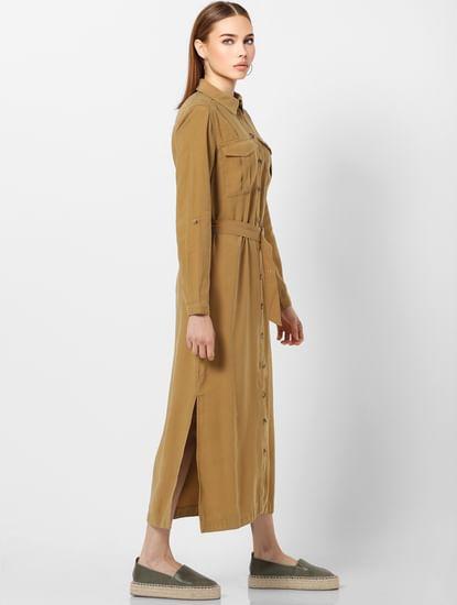 Brown Belted Long Shirt Dress