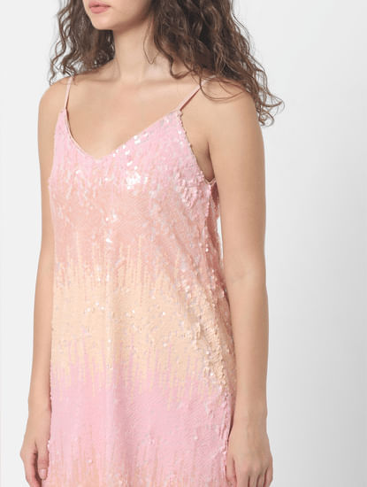 Pink Sequined Mini Dress