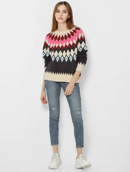 Multi-Coloured Abstract Print Pullover