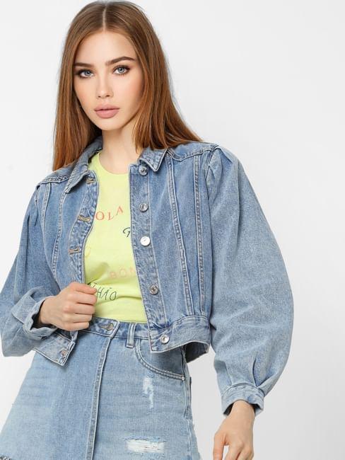 Blue Puff Sleeves Denim Jacket