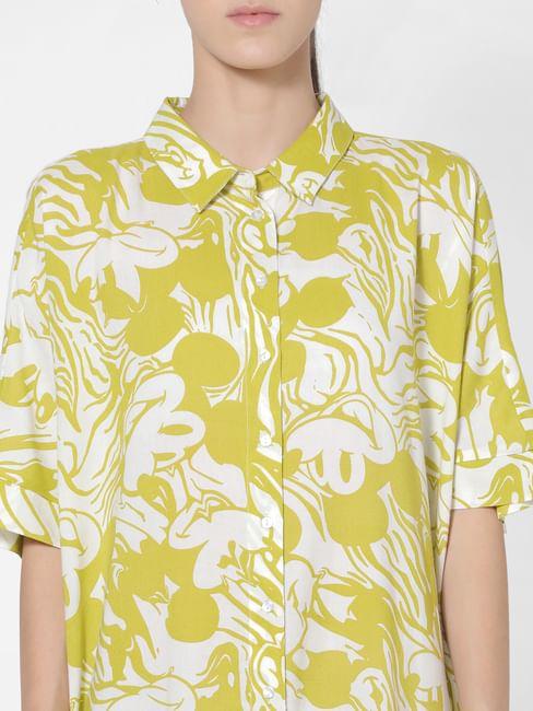 X MICKEY Yellow All Over Print Long Shirt