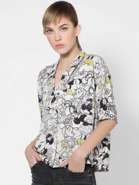 X MICKEY White Scribble Print Shirt