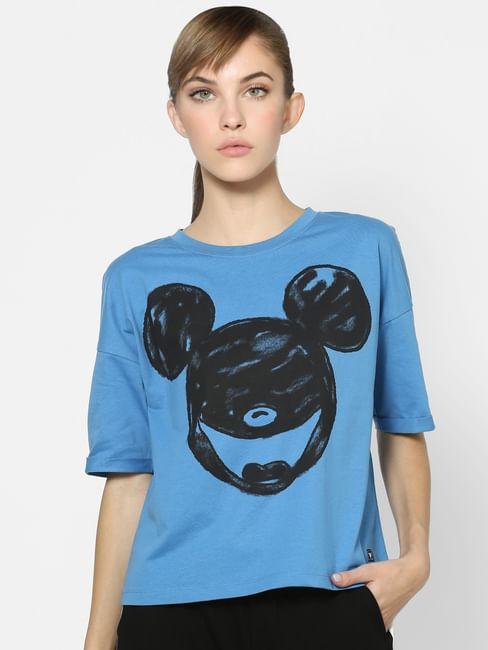 X MICKEY Blue Graphic Print T-shirt