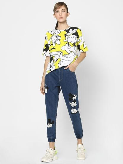 X MICKEY Yellow All Over Print T-shirt