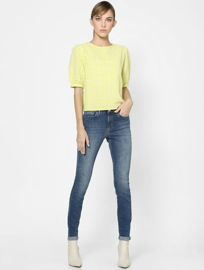 Yellow Check Textured Puff Sleeves Top