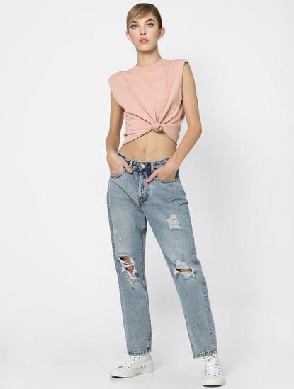 Pink Sleeveless T-shirt
