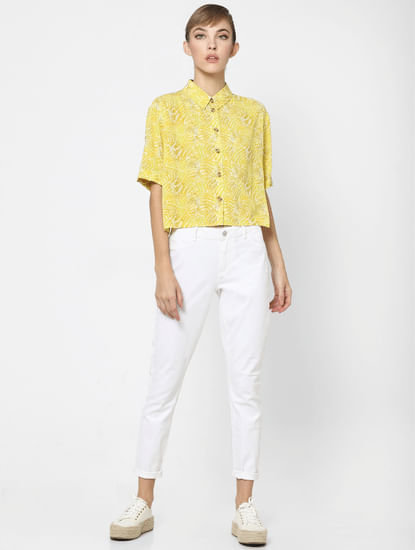 Yellow Leaf Print Button Up Shirt