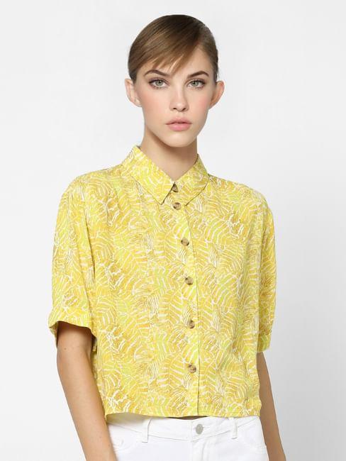 Yellow Leaf Print Button Up Shirt