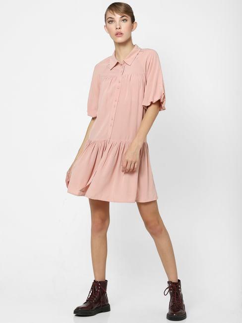 Pink Tiered Shirt Dress