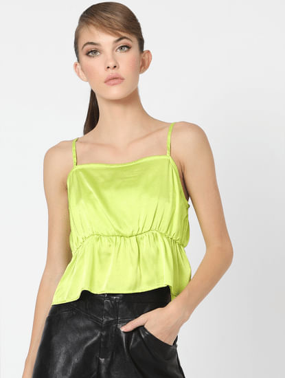 Neon Yellow Satin Fit & Flare Top
