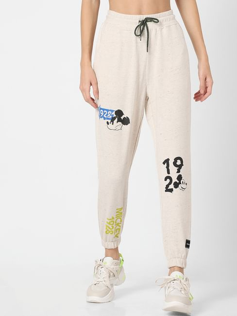 X MICKEY Beige Mid Rise Graphic Print Joggers
