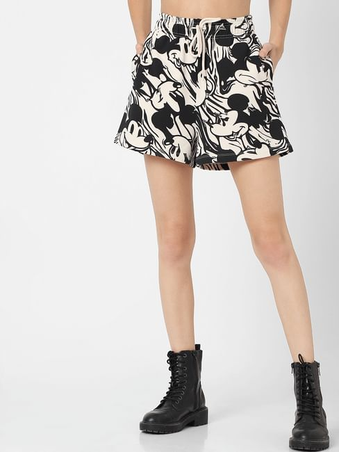 X MICKEY Beige Mid Rise All Over Print Shorts