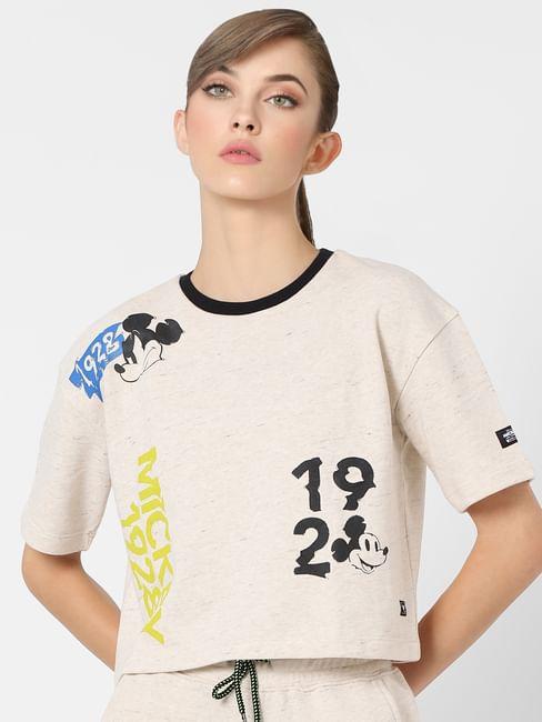 X MICKEY Beige Graphic Print Sweatshirt