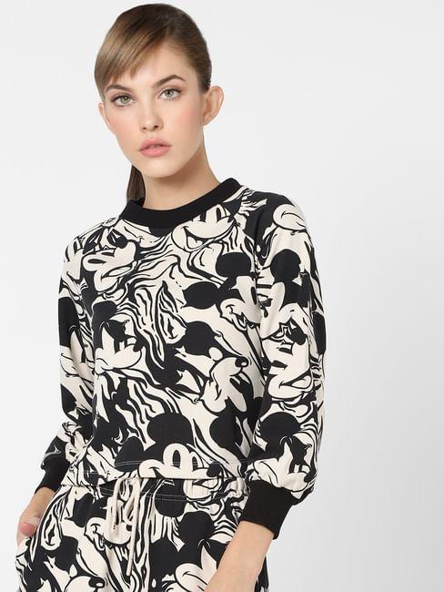 X MICKEY Beige All Over Print Sweatshirt
