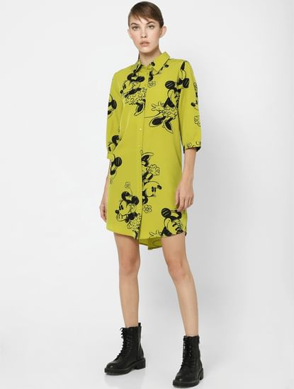 X MICKEY Green All Over Print Shirt Dress
