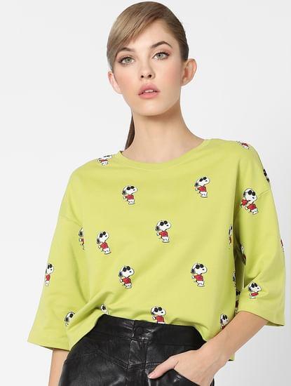 Green Snoopy Print Sweatshirt