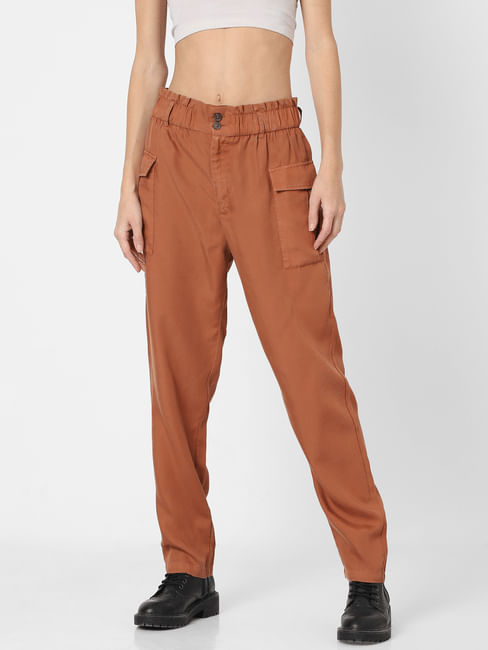 Brown High Rise Paperwaist Pants